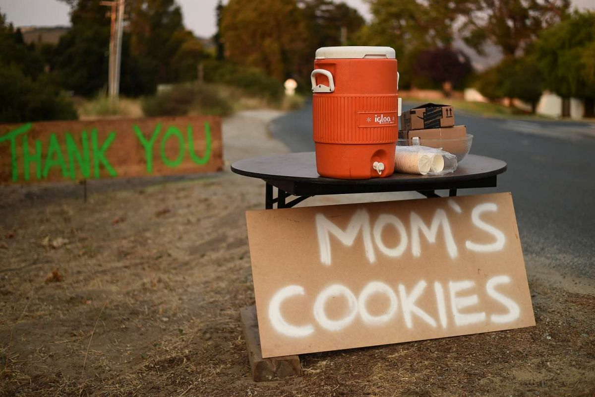Cookies left by a resident await firefighters battling the Soberanes Fire in Carmel-By-The-Sea, California, on July 27, 2016.