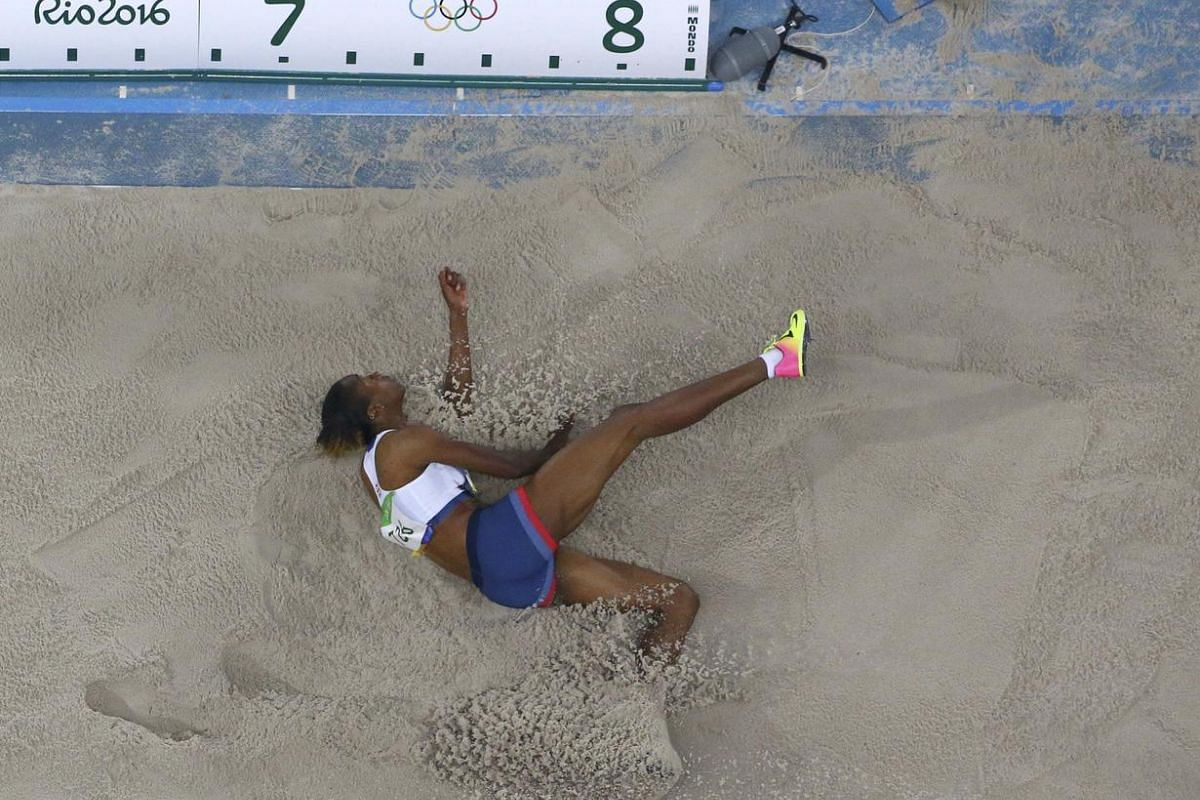 Lorraine Ugen of Britain competes in a women's long jump final during the 2016 Rio Olympics on August 17.