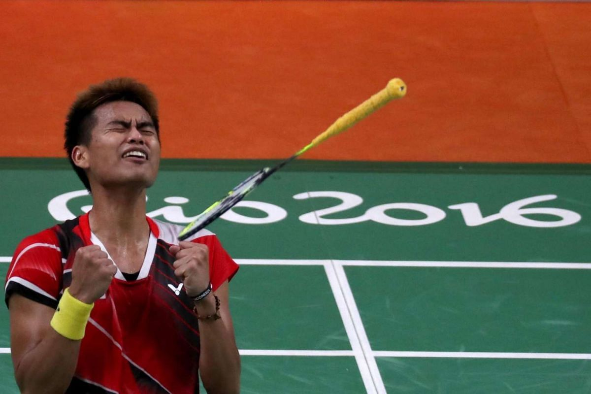 Tontowi Ahmad of Indonesia reacts after winning the game against Peng Soon Chan and Liu Ying Goh of Malaysia in mixed doubles gold medal game of the Rio 2016 Olympic Games Badminton events on August 17.