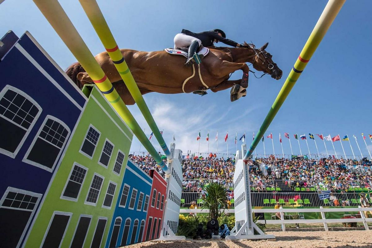 France's Penelope Leprevost on Flora de Mariposa competes in the equestrian's show jumping 2nd qualifying round event of the Rio 2016 Olympic on August 16.