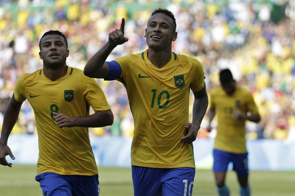 Neymar (centre) of Brazil celebrating after scoring against Honduras during the Rio 2016 Olympic Games football men's semi-final at the Maracana in Rio de Janeiro, Brazil, on August 17.