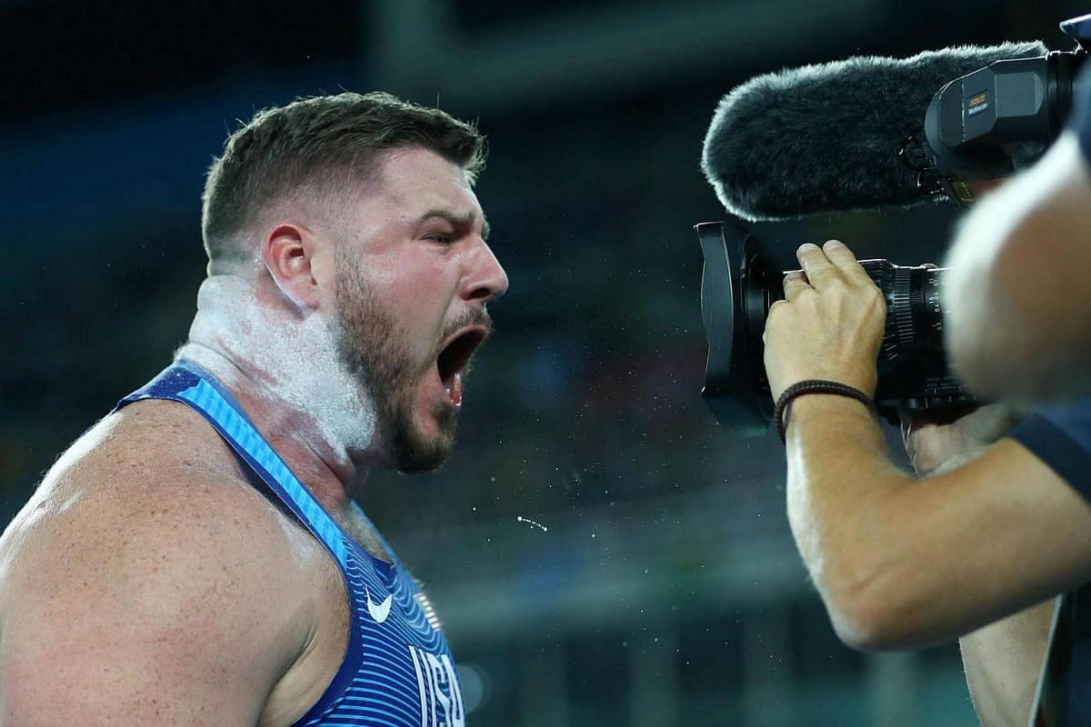 Shot putter Joe Kovacs unleashes his emotions in the men's shot put final.