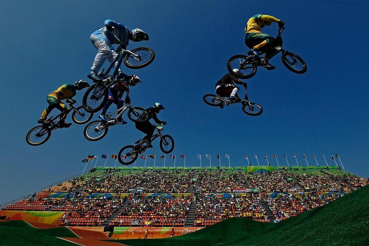 Riders compete in the BMX cycling men's quarter-finals event at the X-Park BMX venue in Deodoro.
