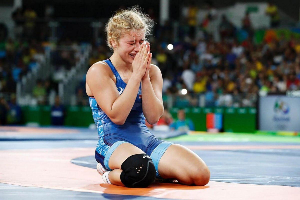 USA's Helen Louise Maroulis celebrates after winning against Japan's Saori Yoshida in their women's 53kg freestyle final match on August 18 during the wrestling event.