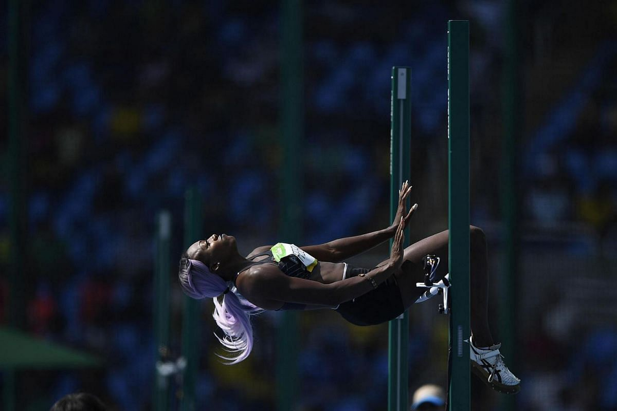 Antigua's Priscilla Frederick competes in the women's high jump qualifying round on August 18.