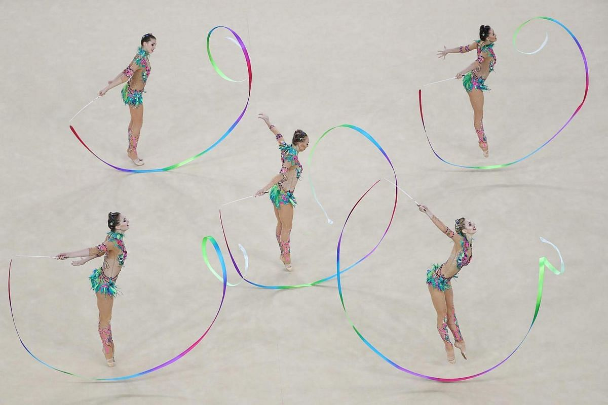 Team Russia performs during the group all-around final at the rhythmic gymnastics event on August 21.