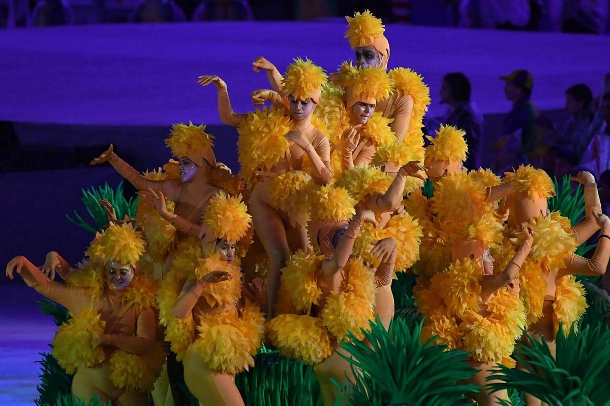 Dancers perform during the closing ceremony of the Rio 2016 Olympic Games on August 21.