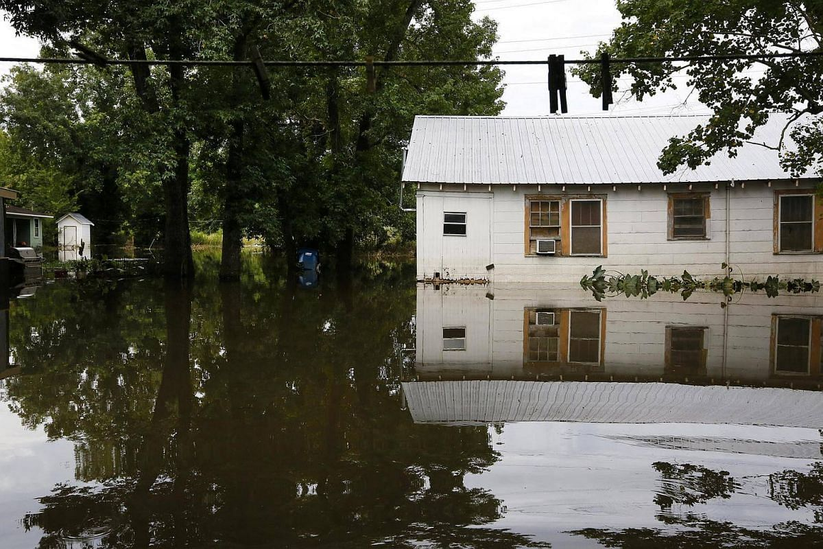 A neighbourhood damaged by flooding is seen in Sorrento, Louisiana, US, on August 21.