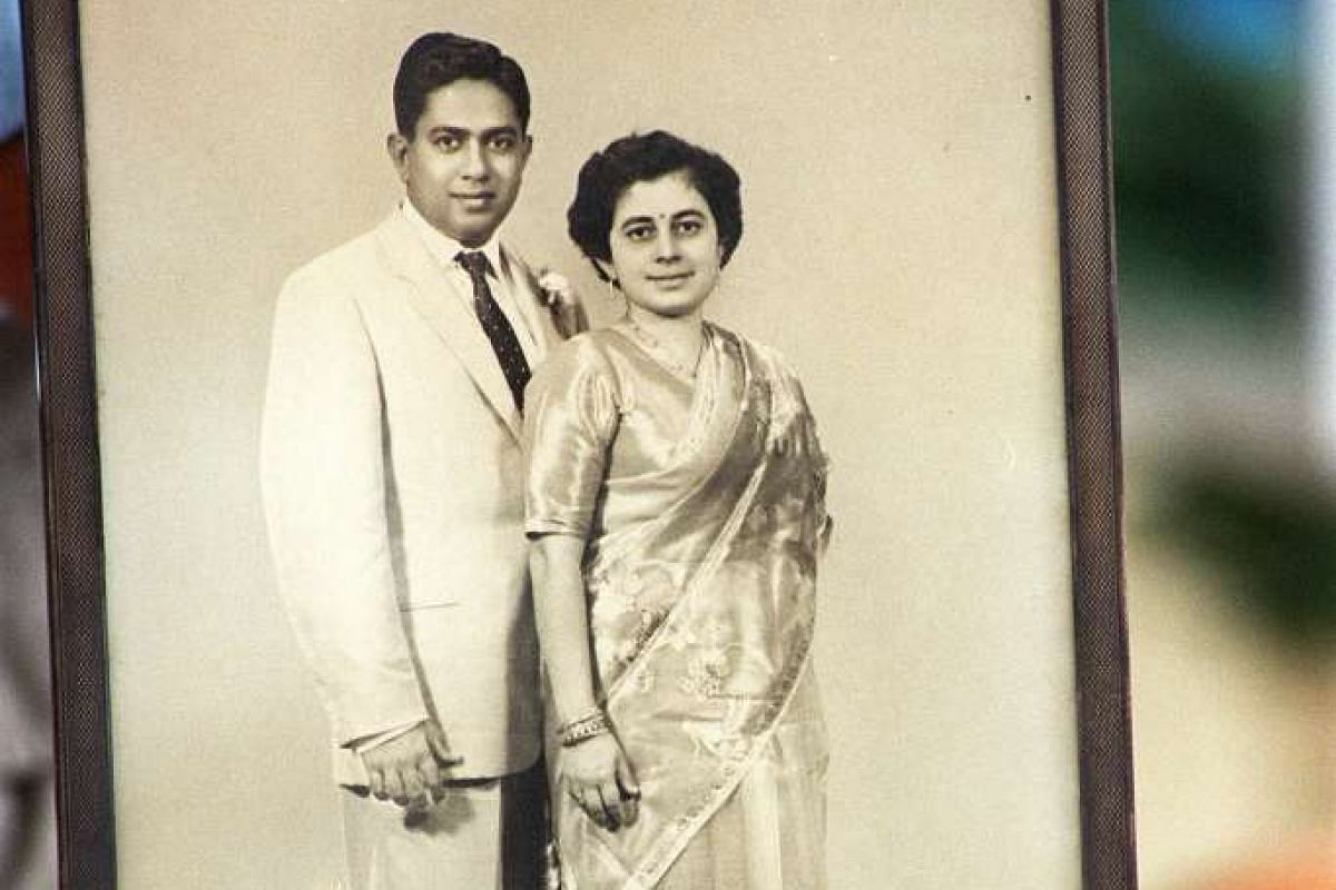 Mr and Mrs S R Nathan on their wedding day in 1958. Their simple Hindu wedding ceremony was held at the Sri Mariamman Temple.