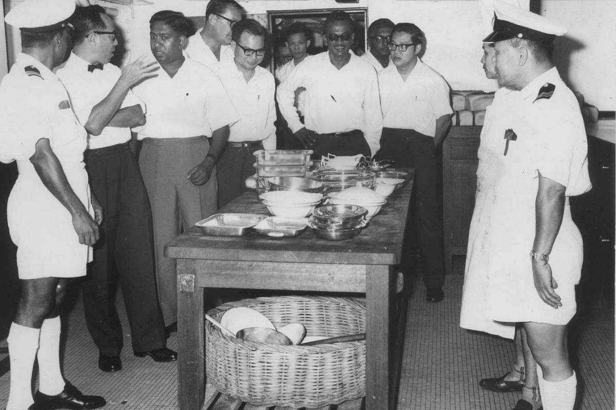 Mr S R Nathan (third from left), seen in this 1964 photo, was involved in initiatives promoting the welfare and training of Singapore seamen in his job as seamen's welfare officer and later as chairman of the Seamen's Registry Board.