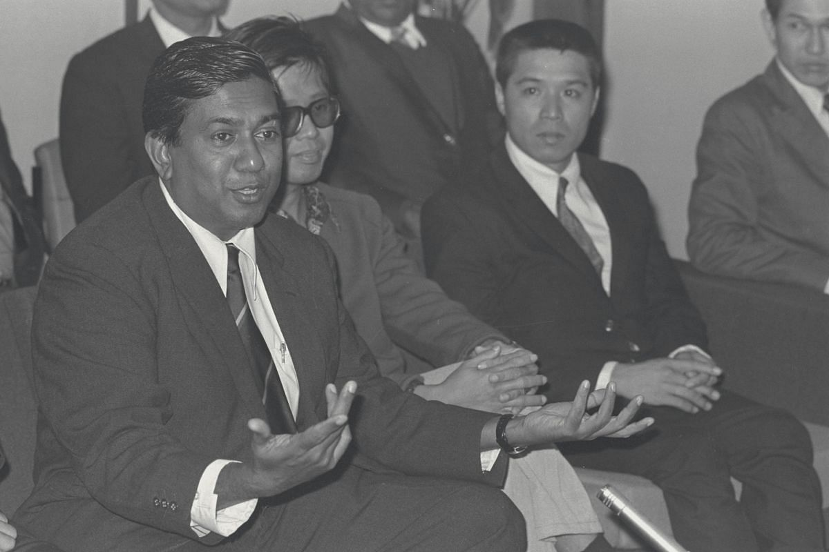 Mr S R Nathan, then Mindef's Director of Security & Intelligence, speaking to reporters in 1974 upon his arrival at the Singapore airport. He was one of the 13 Singapore government officers who left Singapore for Kuwait on a special flight as guarant