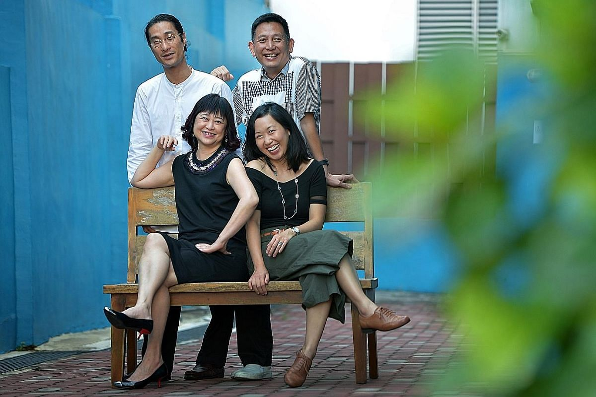 The National Arts Council's Creative Producers Development Programme mentors (clockwise from bottom left) Goh Ching Lee, Tang Fu Kuen and Jeremiah Choy with participant Pearlyn Chai.