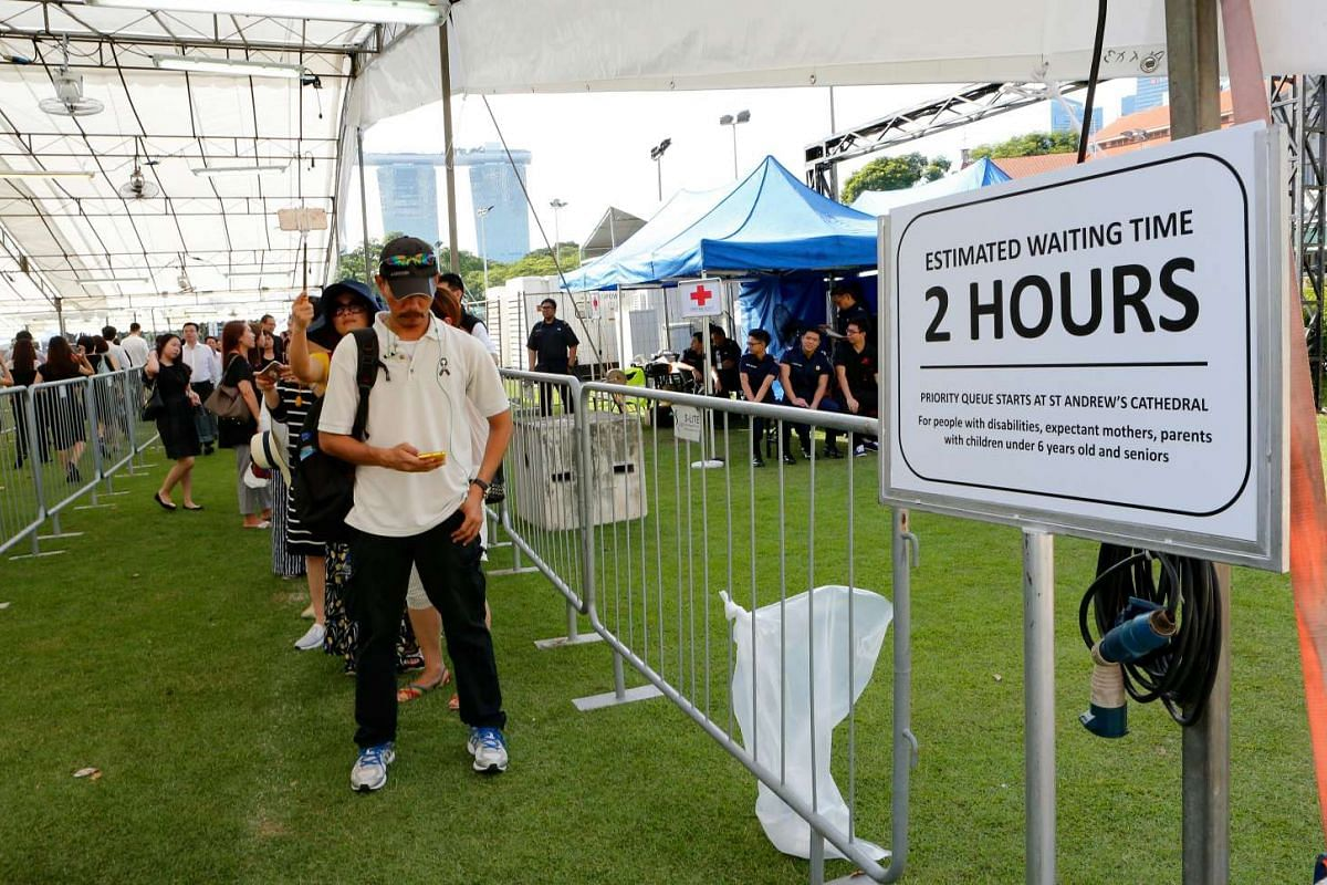 Public queues began this morning at the Padang for the arrival of Mr S R Nathan's casket at Parliament House on Aug 25.
