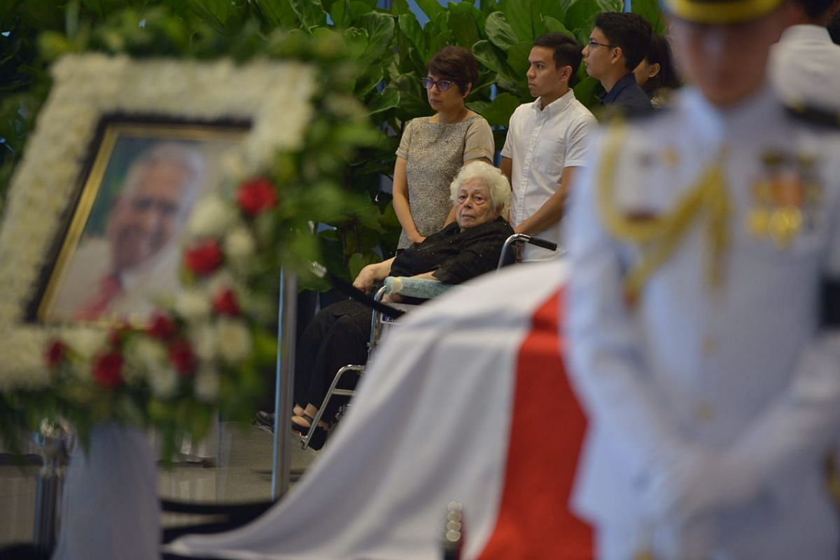 Mrs Nathan at Parliament House while people pay their respects to Mr S R Nathan on Aug 25.