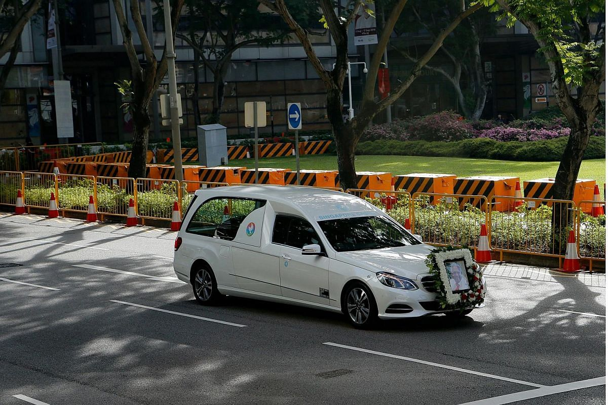 Arrival of Mr S R Nathan's casket at the Parliament House.