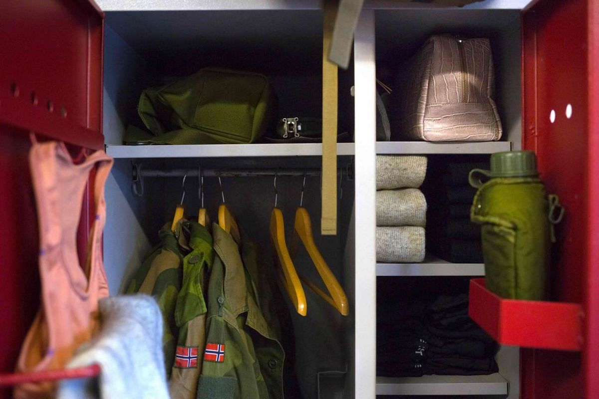 The locker of a female army recruit Gine Grimsbu in the barracks in Setermoen, northern Norway, on Aug 11, 2016.