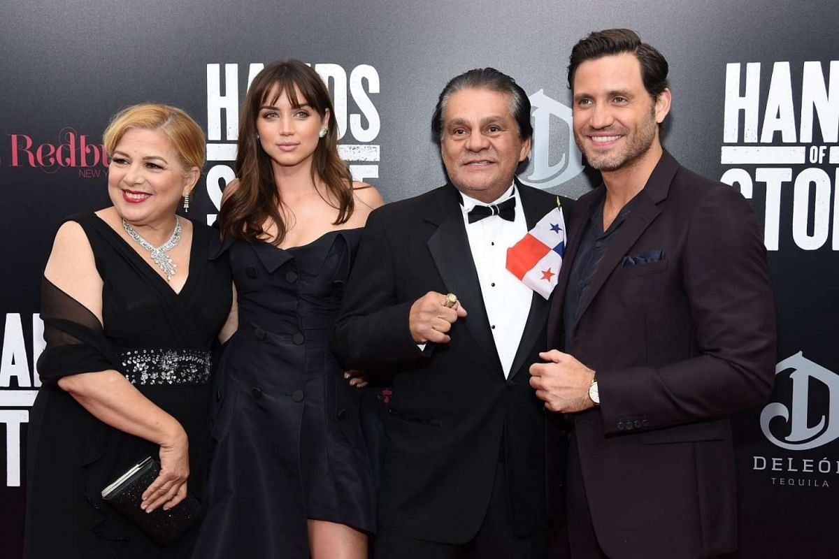 (From left) Felicidad Duran, Ana de Armas, boxer Roberto Duran and Edgar Ramirez at the Hands Of Stone premiere at SVA Theater on Aug 22 in New York City.