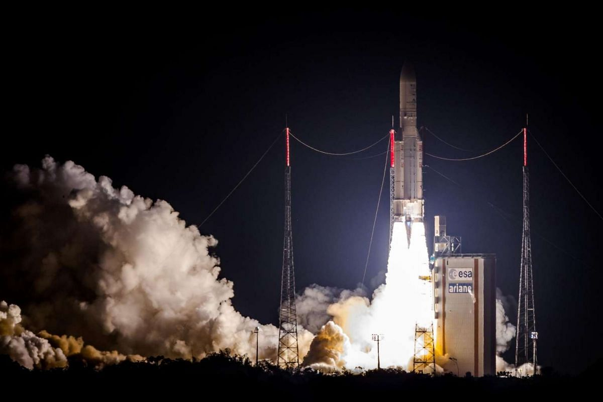 The Ariane 5 rocket lifts off from the Ariane Launchpad Area at the European Spaceport in Kourou, in French Guiana, on Aug 24.