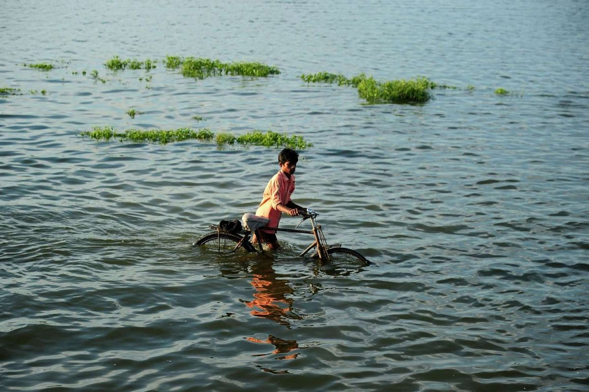 An Indian villager pushes a bicycle as he crosses a flooded road at Naraha on the outskirts of Allahabad on Aug 24.