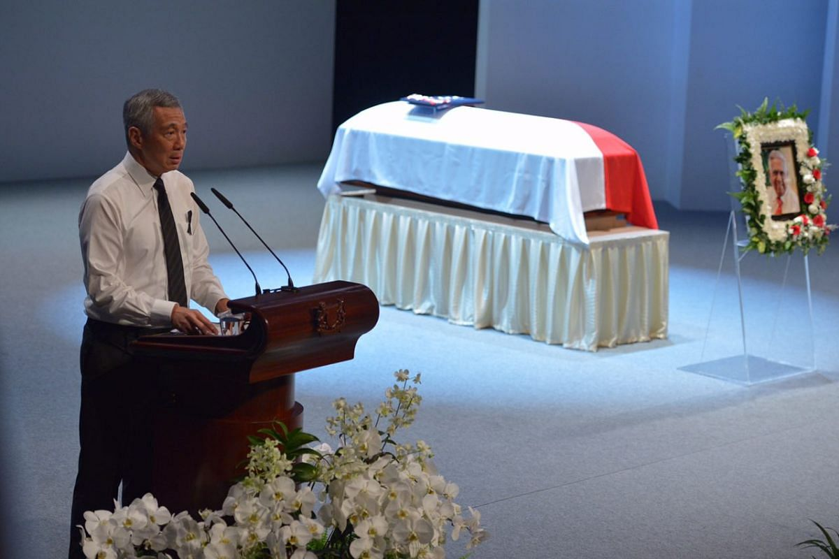 PM Lee Hsien Loong delivering his eulogy, at the state funeral for former president S R Nathan, at University Cultural Centre on Aug 26, 2016.