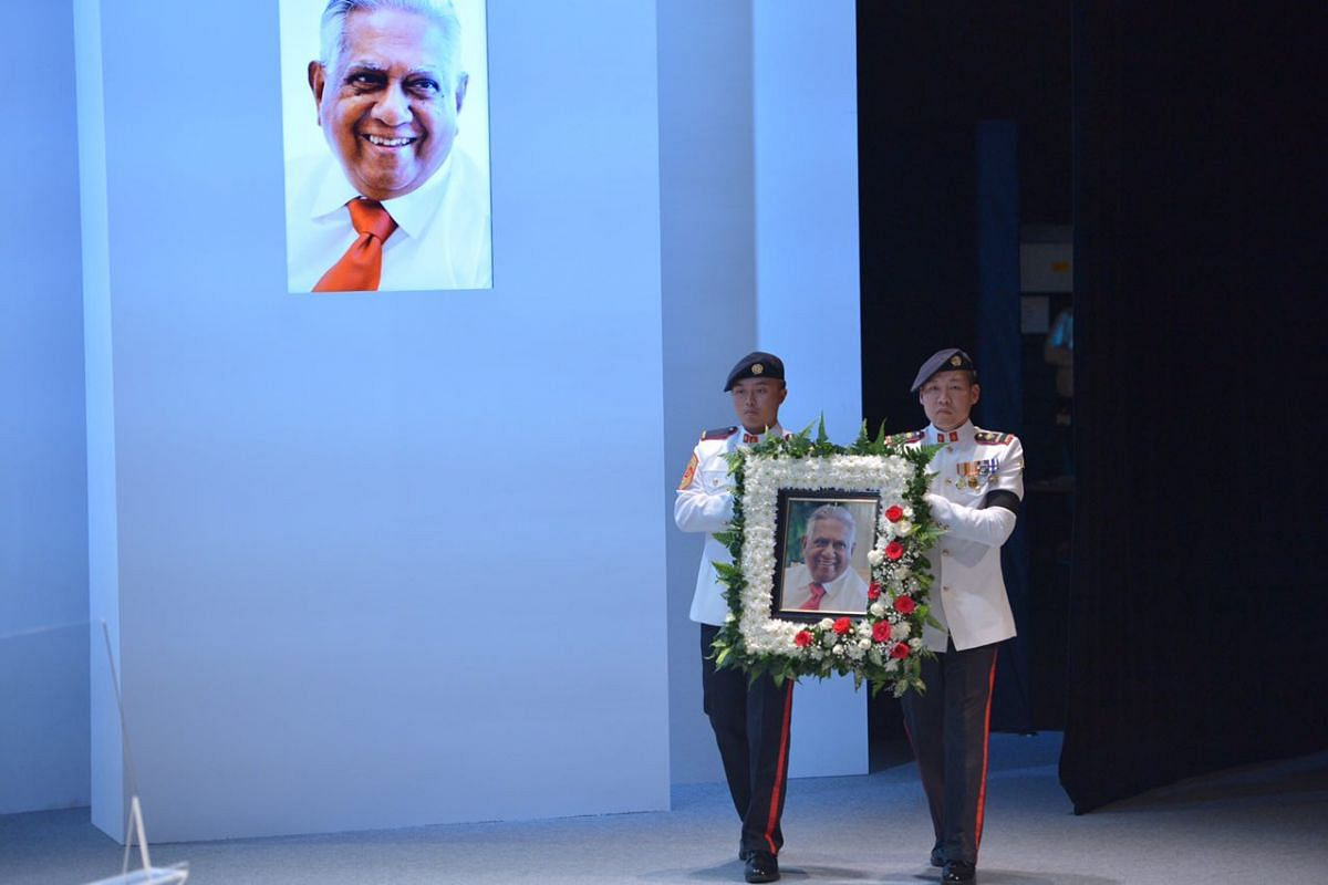 The portrait of the late former president S R Nathan being brought into the University Cultural Centre on Aug 26, 2016.