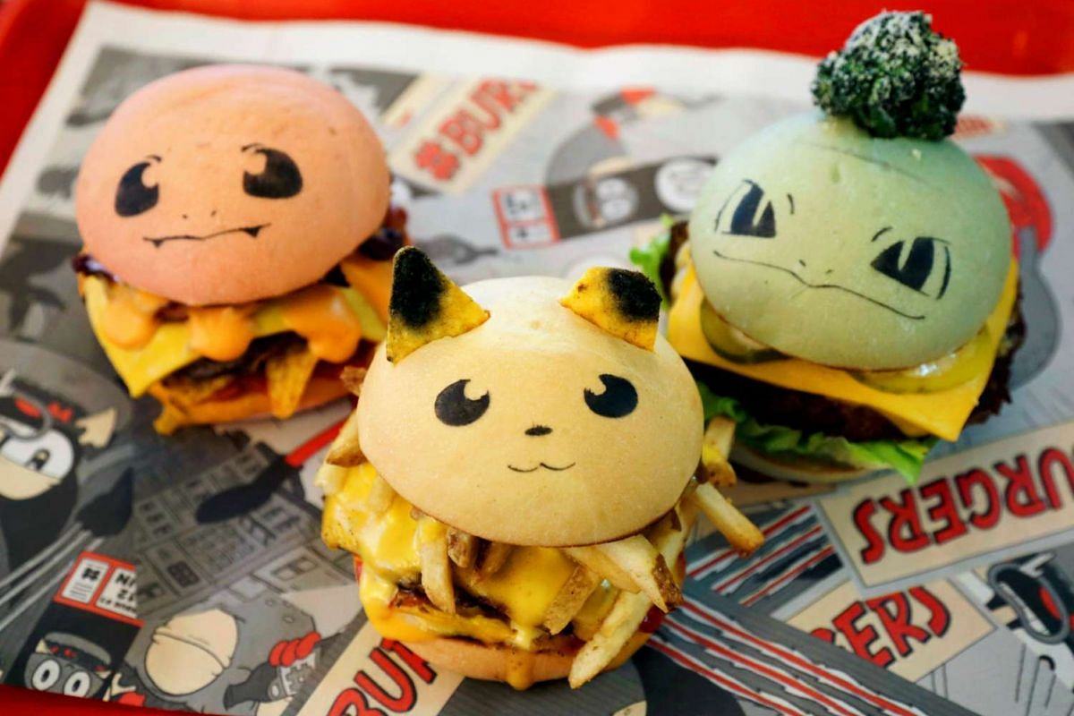 Pokeburgs, hamburgers in the form of Pokemon characters, are seen at Down N' Out Burger restaurant in Sydney, Australia on Aug 26, 2016.