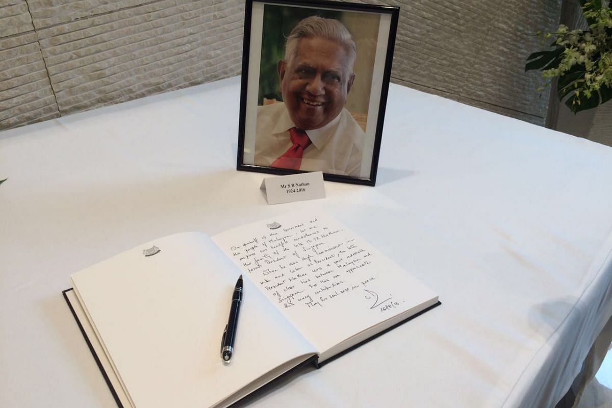 Malaysia's PM Najib Razak pens his condolences for the passing of Mr S R Nathan on Aug 26, 2016 in Kuala Lumpur.