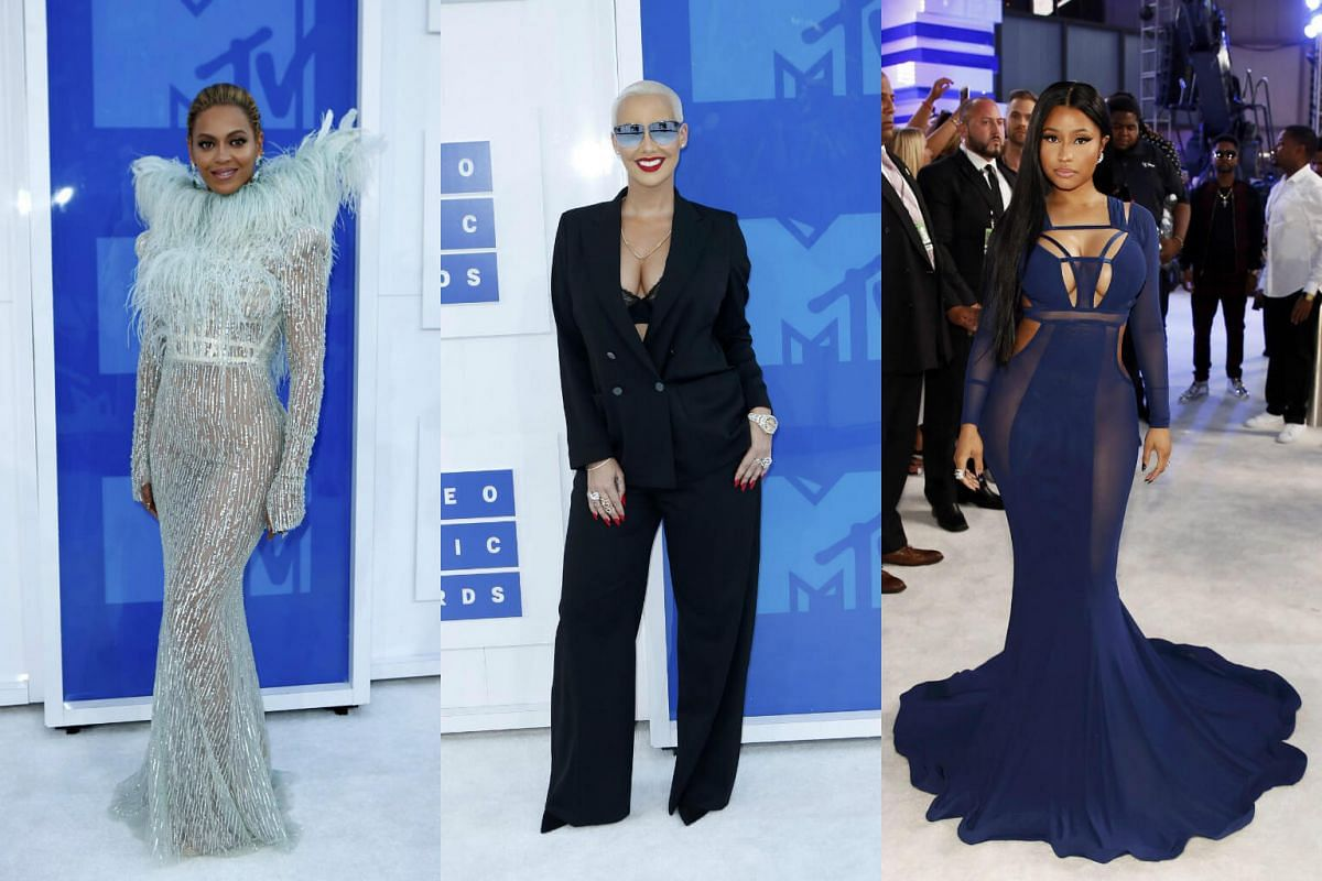 (From left) Beyonce, Amber Rose and Nicki Minaj arrive at the 2016 MTV Video Music Awards in New York, US, on August 28.