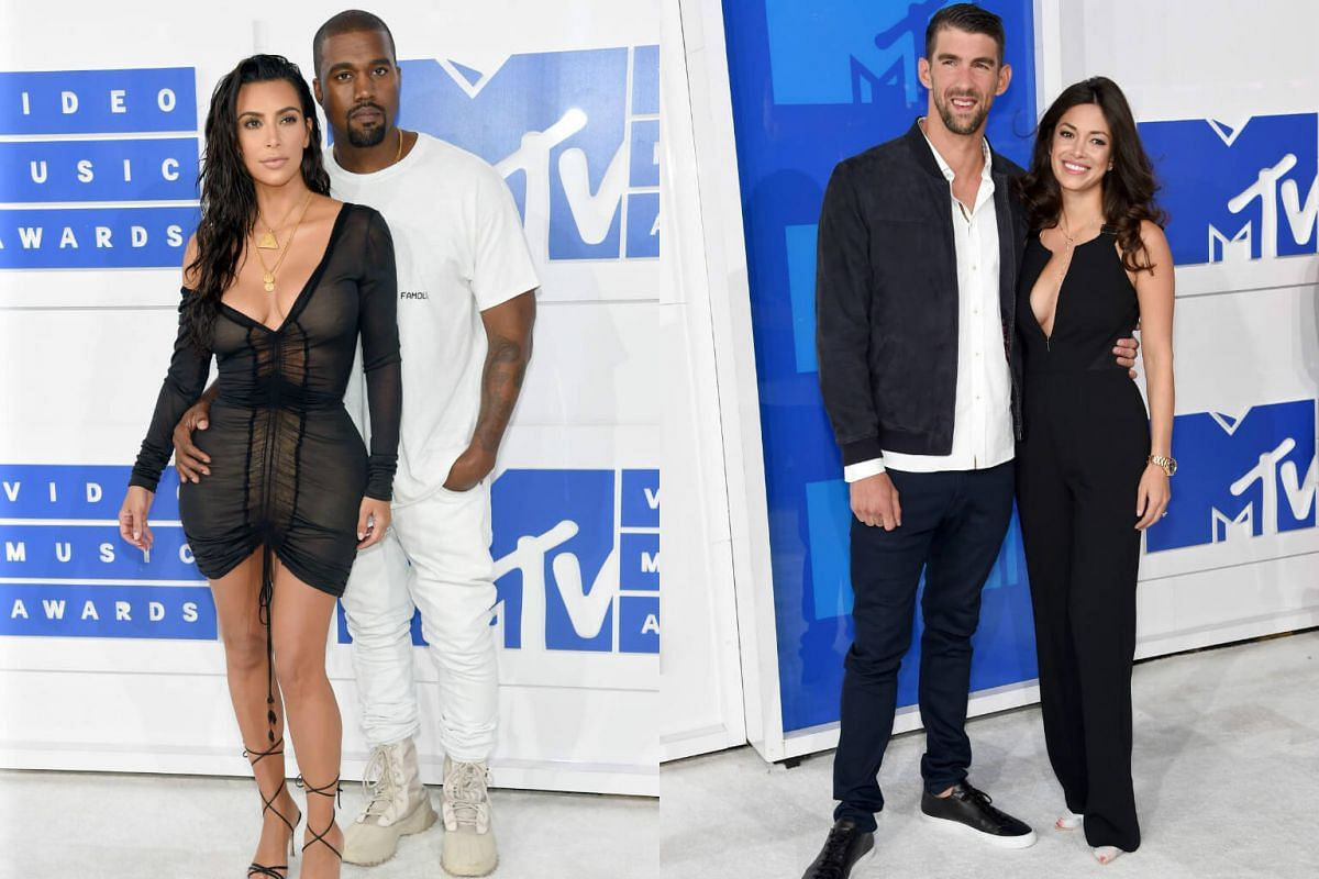(From left) Kim Kardashian West and Kanye West , and Olympian Michael Phelps and fiance Nicole Johnson attend the 2016 MTV Video Music Awards at Madison Square Garden on August 28 in New York City.