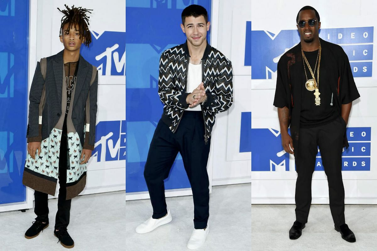 (From left) Jaden Smith, Nick Jonas and Sean Diddy Combs arrive at the 2016 MTV Video Music Awards at Madison Square Garden on August 28 in New York City.