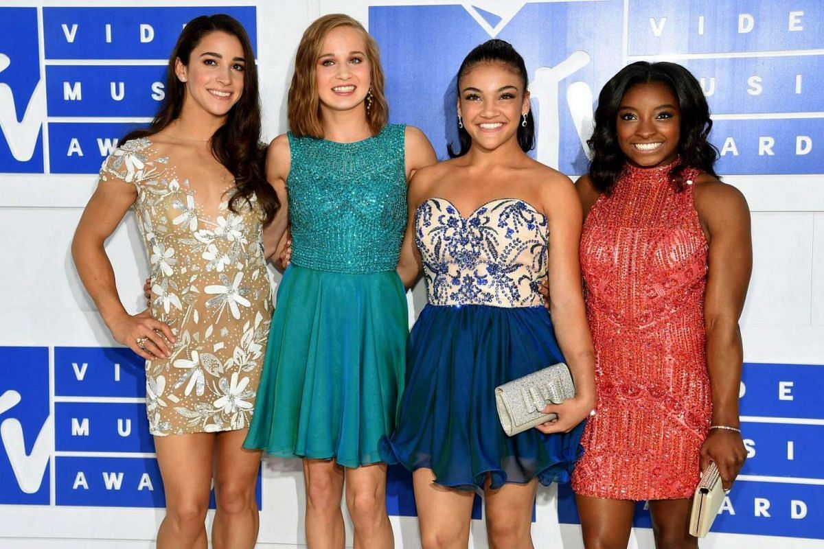 (From left) Olympic gymnasts Aly Raisman, Madison Kocian, Laurie Hernandez and Simone Biles attend the 2016 MTV Video Music Awards at Madison Square Garden on August 28 in New York City.