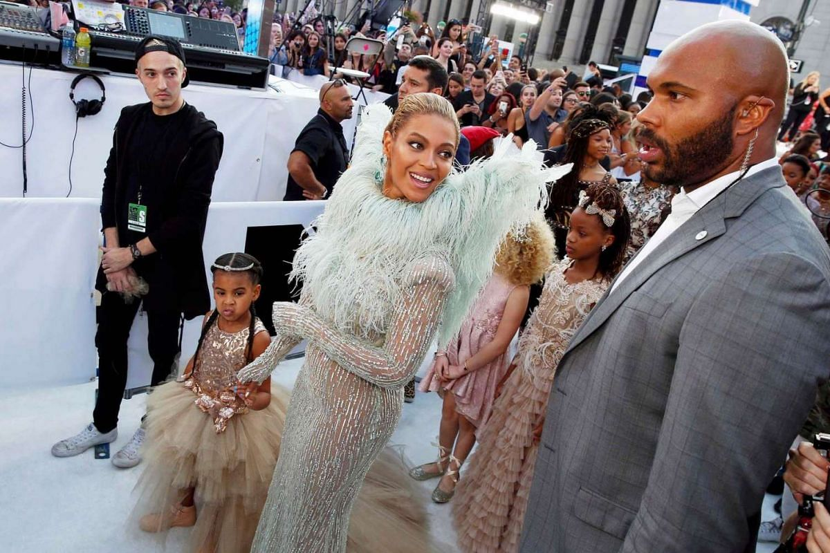 Beyonce takes daughter Blue Ivy on the red carpet for the first time at the 2016 MTV Video Music Awards in New York, US, on August 28.