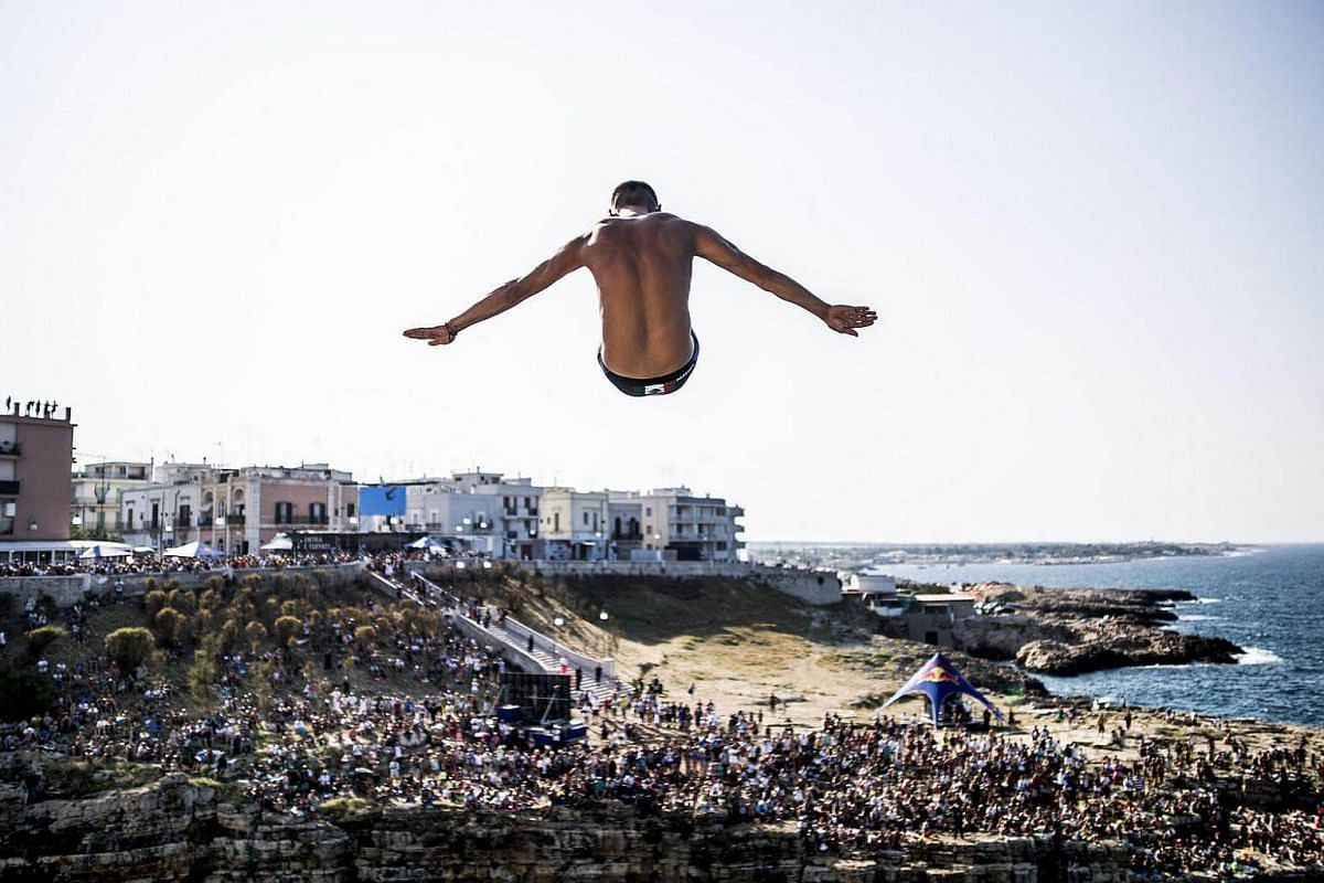 Mexico's Jonathan Paredes diving from the 27-metre-high platform during the first competition day of the fifth stop of the Red Bull Cliff Diving World Series at Polignano a Mare on Aug 28, 2016.