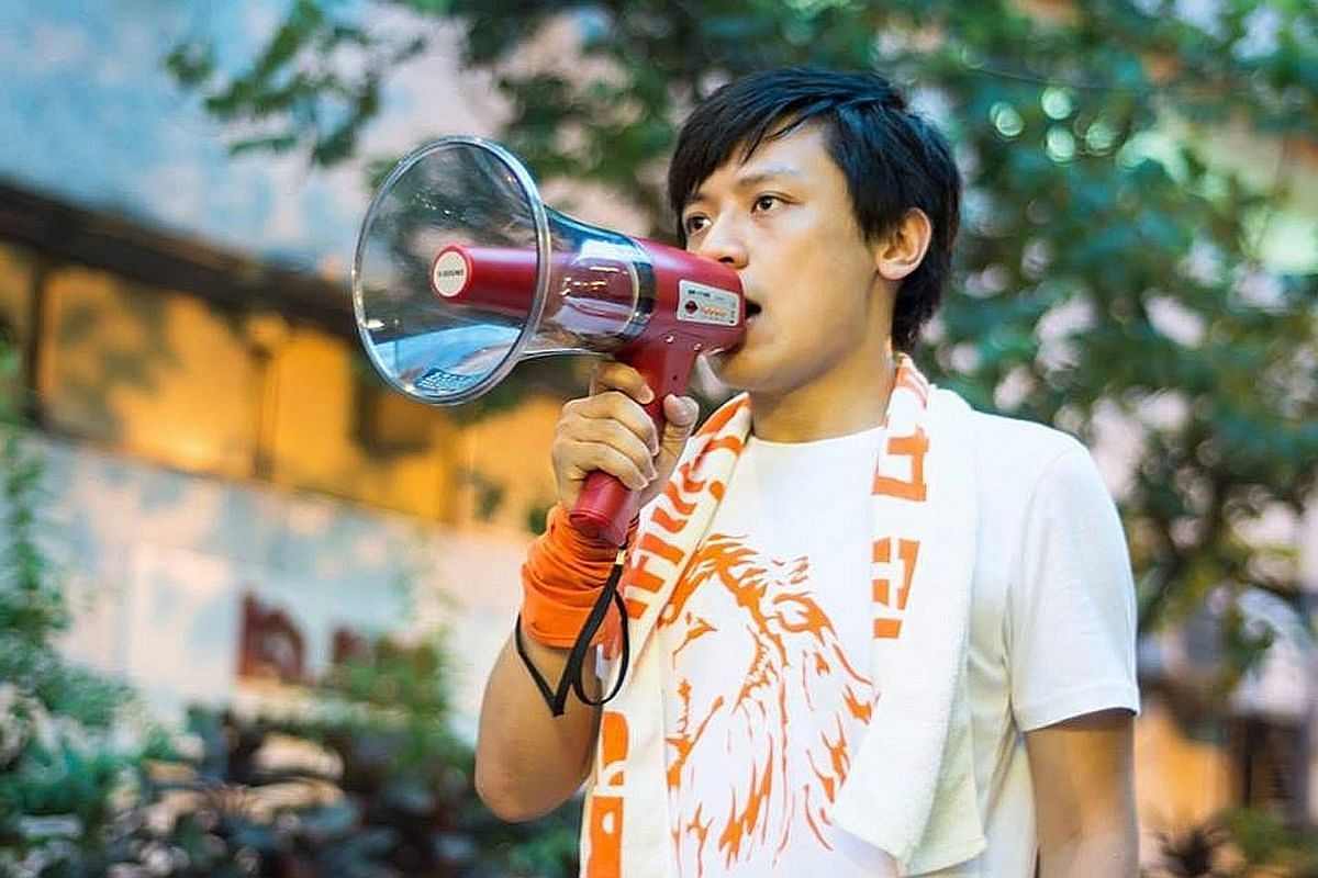 First-time candidate Kenny Wong Chun Kit, a relative unknown from the 19-month-old party Youngspiration, campaigning in the streets of New Territories West.