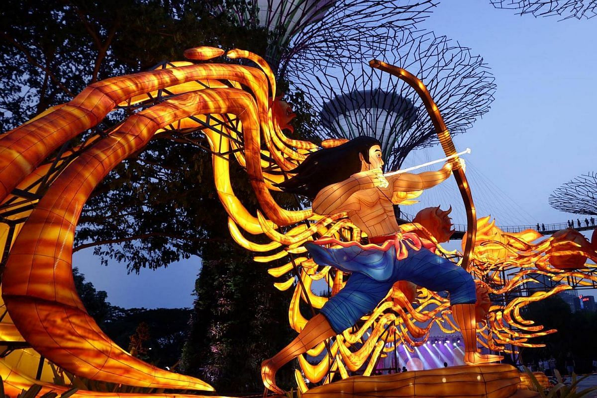 One of the large lantern sets featuring a character of the Mid-Autumn Festival to be displayed at Gardens by the Bay this September.
