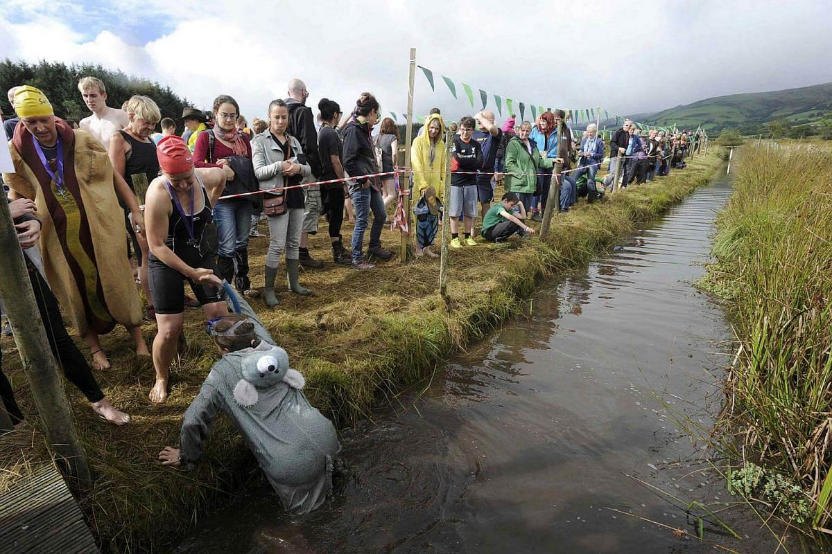 A competitor is helped out after participating in the 31st World Bog Snorkelling Championships in Llanwrtyd Wells, Wales, on Aug 28.