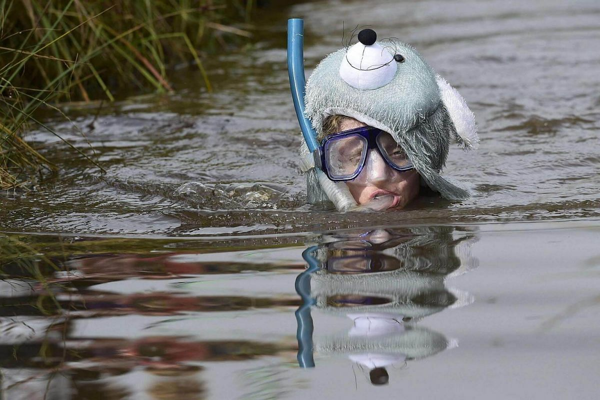 A competitor takes part in the 31st World Bog Snorkelling Championships, held annually at Llanwrtyd Wells in Wales on Aug 28.