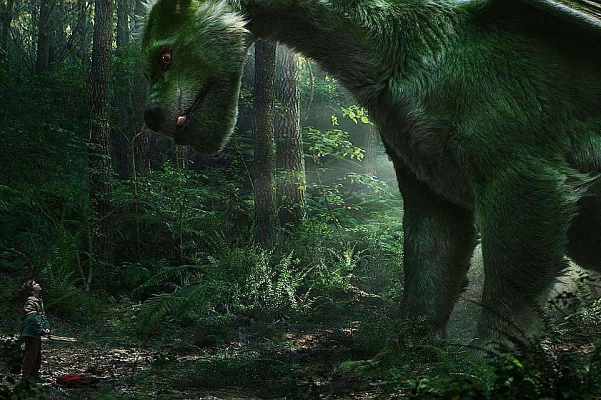 (From far left) Bryce Dallas Howard, Robert Redford and Oona Laurence in Pete's Dragon.