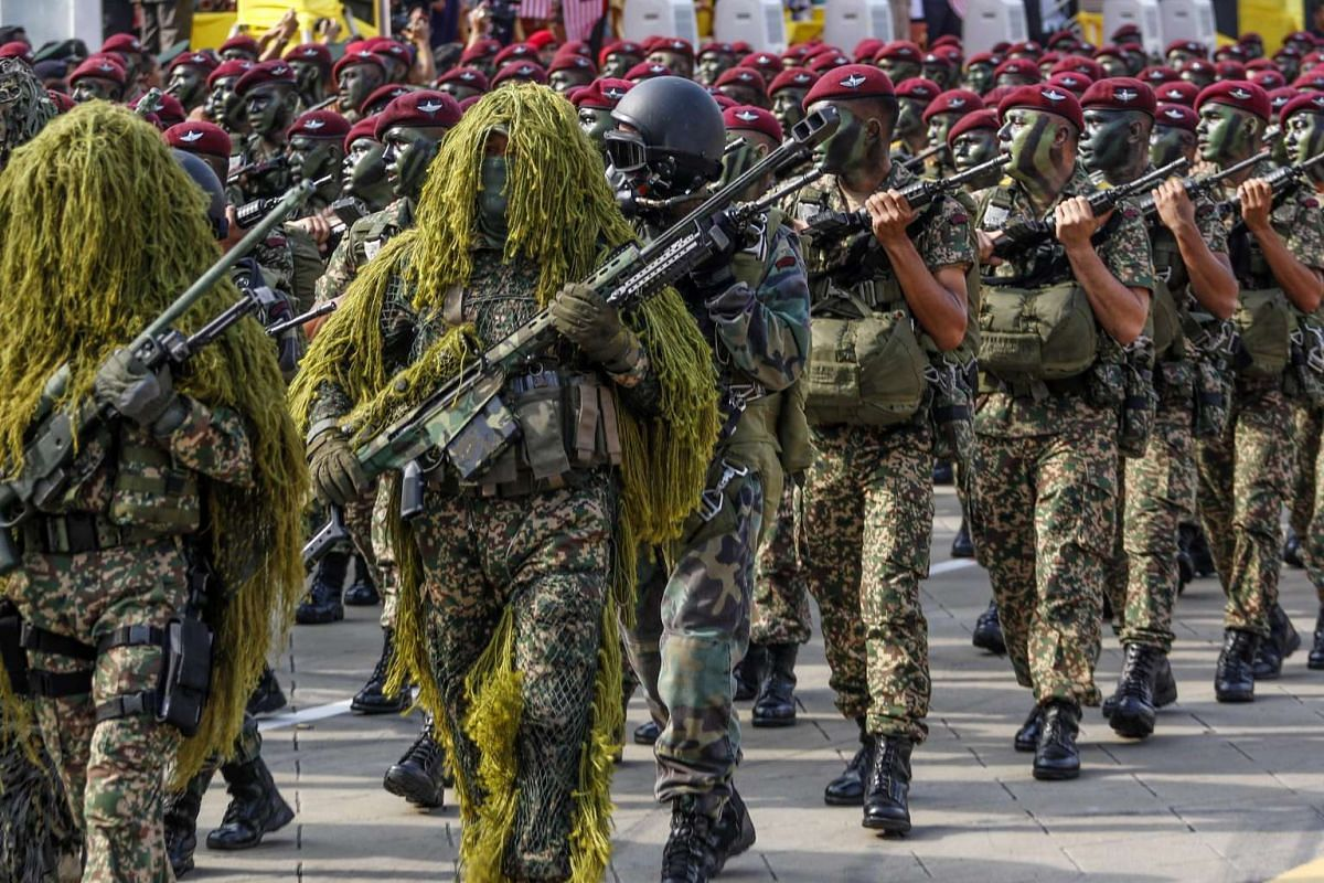 Malaysian Armed Forces members parade during the Independence Day celebrations in Kuala Lumpur, Malaysia on Aug 31, 2016.