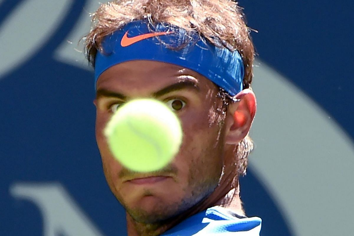 Rafael Nadal of Spain in full concentration while playing against Denis Istomin of Uzbekistan in the 2016 US Open Men's Single Match on Aug 29, 2016 in New York.