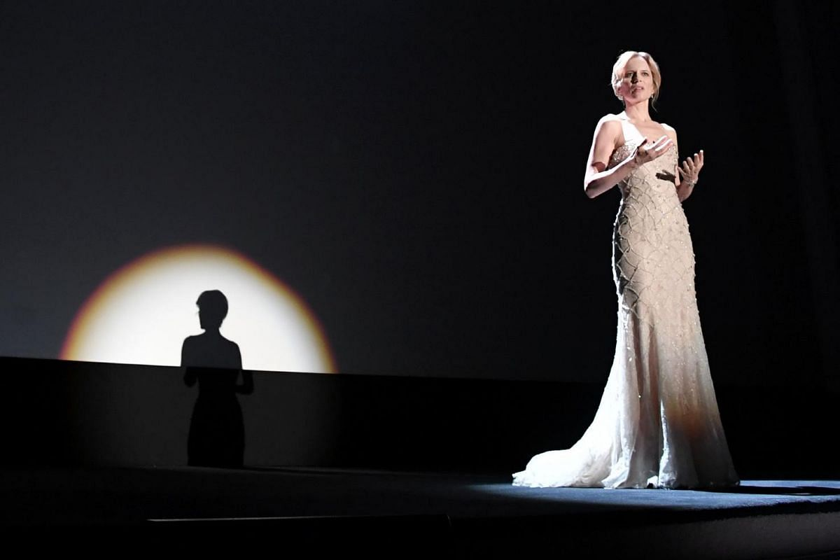 Italian actress Sonia Bergamasco hosts the opening ceremony of the 73rd Venice Film Festival, on Aug 31, at Venice Lido.