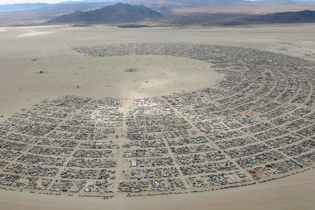 70,000 people from all over the world gather for the 30th annual Burning Man arts and music festival in the Black Rock Desert of Nevada, US on Aug 31, 2016.