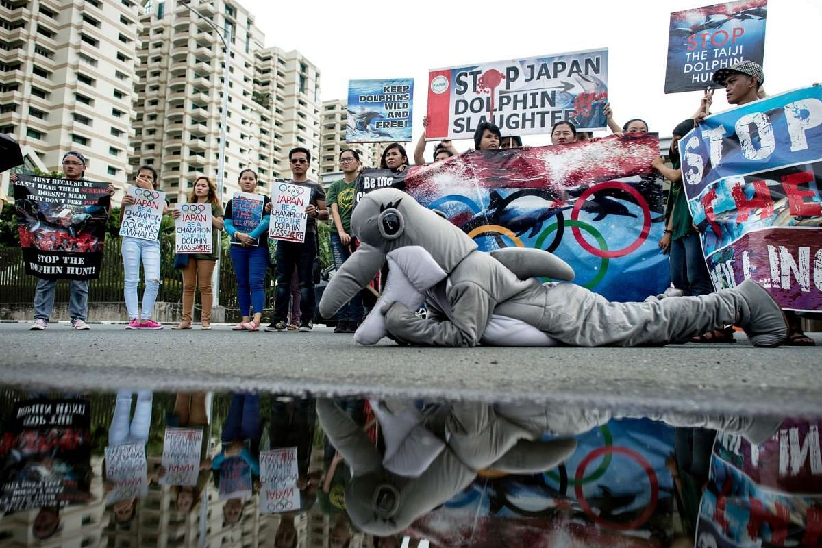 Activists from Earth Island Institute (EII) and the Philippine Animal Welfare Society (PWAS) hold a demonstration in front of the Japanese Embassy in Manila to protest the start of the dolphin hunting season in Japan on Sept 1, 2016.