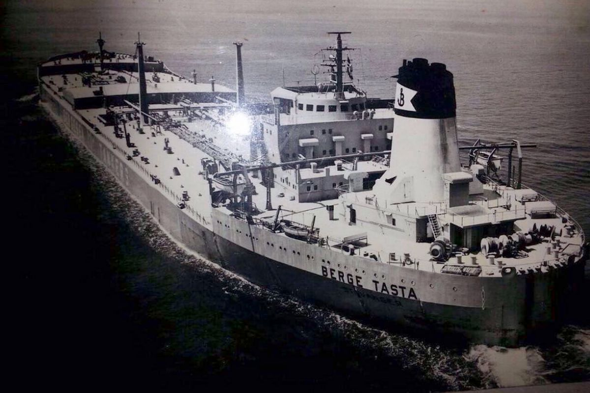 The Norwegian ship Berge Tasta, which had rescued Yen Siow and her family in 1980.
