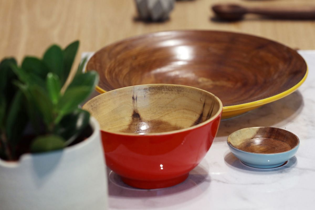 A collaboration between DDB and local design house Acre, this set of tableware (US$35 or S$47.60, above) is inspired by hawker-style tableware.