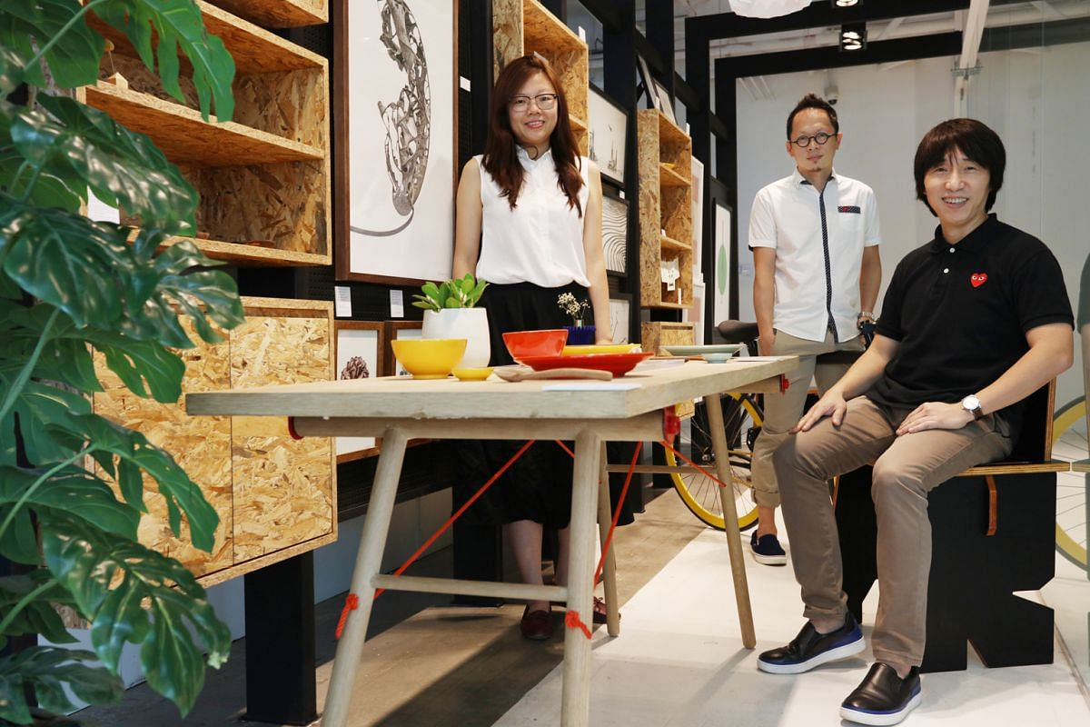 Advertising agency DDB Singapore's online Degree Store is manned by (from left) associate creative director Sharon Goh, deputy executive creative director Thomas Yang and creative director Joel Chin.
