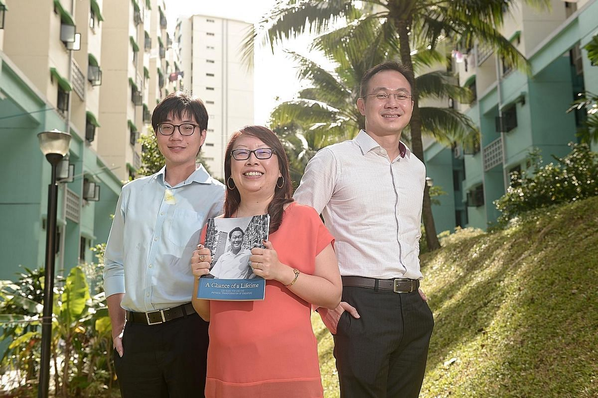 (From far left) Mr Cheong Kay Teck, Ms Joanna Tan and Mr Poon King Wang, members of A Chance Of A Lifetime's editorial team, are seen between Blocks 85 and 86 Commonwealth Close. Mr Lee Kuan Yew was also photographed here in May 1965; that image is o