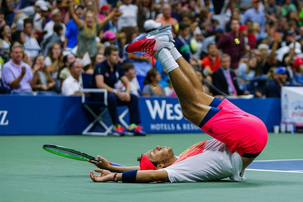 Lucas Pouille of France celebrates after defeating Rafael Nadal of Spain in their US Open Men's Singles match at the USTA Billie Jean King National Tennis Center in New York on Sept 4, 2016.