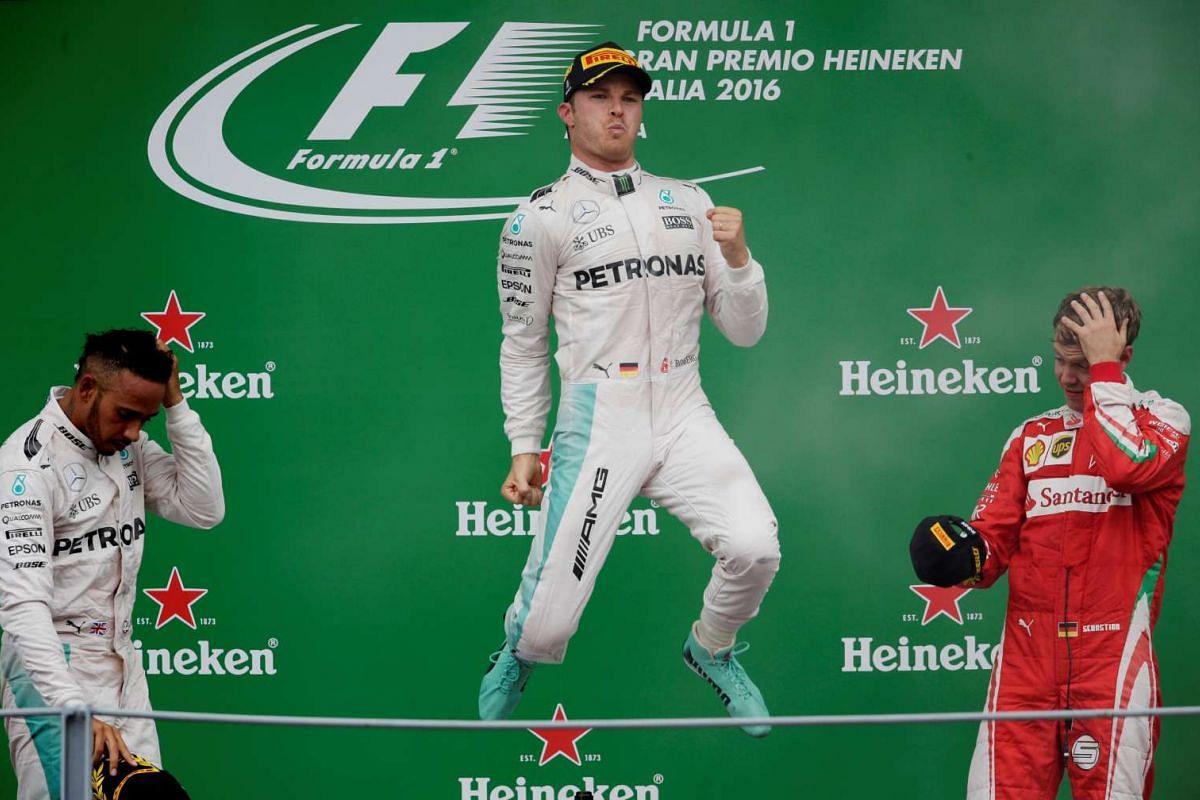 Mercedes' Nico Rosberg celebrates his win at the Italian F1 Grand Prix in Italy on Sept 4, 2016.