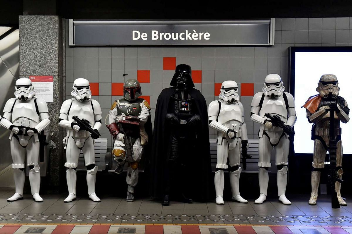 Participants in Star Wars costumes at the De Brouckere metro station after the Balloon's Day Parade in Brussels on Sept 4, 2016.